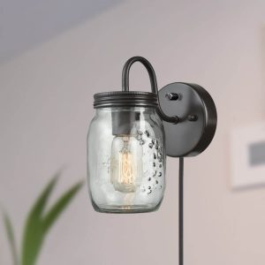 Industrial Mason Jar Glass Plug in Wall Sconce Bronze Finish 1 Pack