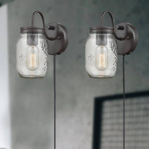 Industrial Mason Jar Glass Plug in Wall Sconce Bronze Finish 2 Pack