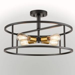 Industrial Metal Cage Drum Semi Flush Kitchen Ceiling Light