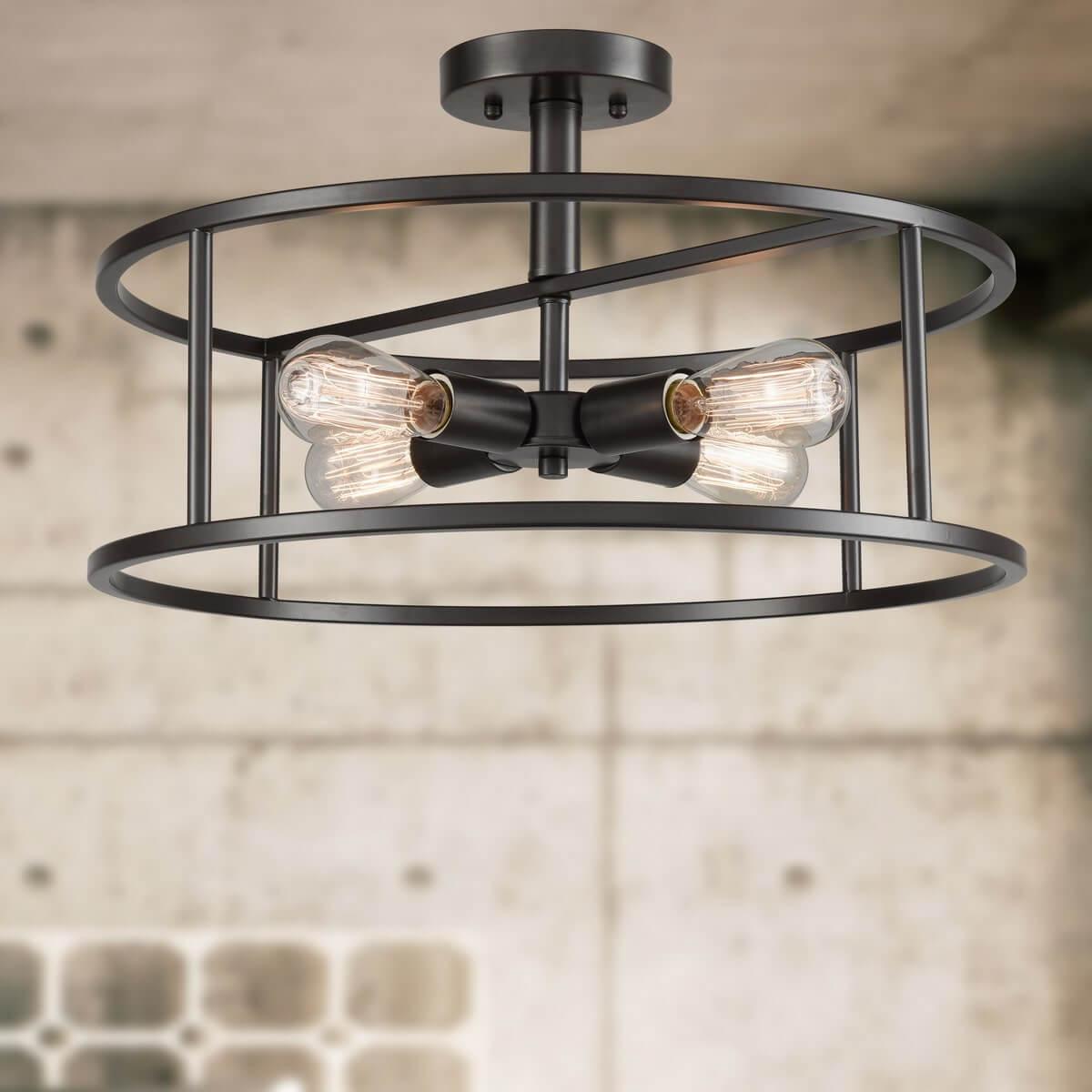 4-Light Industrial Metal Cage Drum Semi Flush Kitchen Ceiling Lights