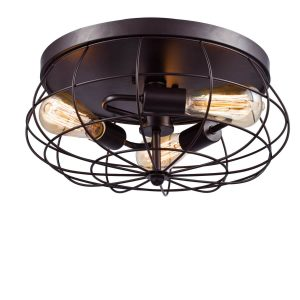 Industrial Metal Flush Mount Ceiling Light Oil Rubbed Bronze
