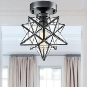 Industrial Moravian Star Ceiling Light Fixture Glass Ceiling Lights