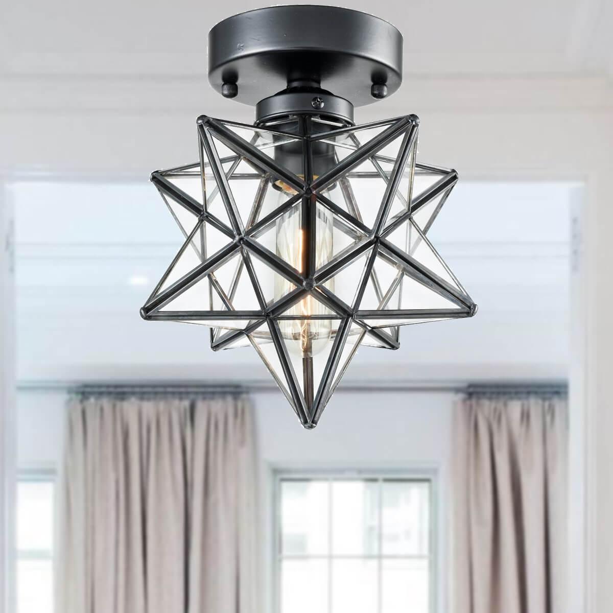 Industrial Moravian Star Ceiling Light Fixture Glass Ceiling Lights