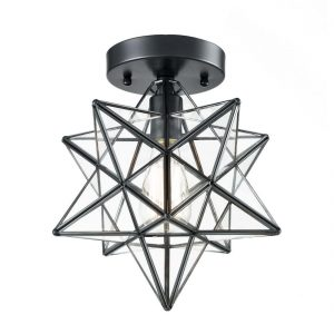 Industrial Moravian Star Ceiling Light Flush Mount Glass Porch Ceiling Lights