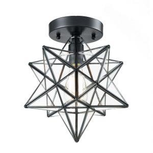 Industrial Moravian Star Ceiling Light Flush Mount Glass Porch Ceiling Lights