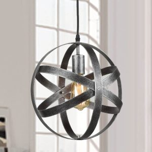 Industrial Pendant Lighting Globe Pendant Light Antique Silver