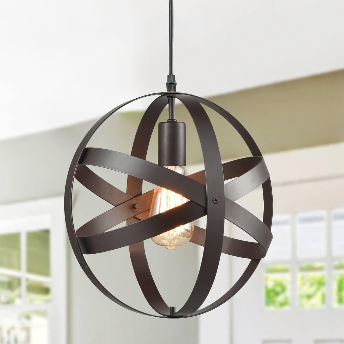 Industrial Globe Pendant Light Bronze Kitchen island Lights