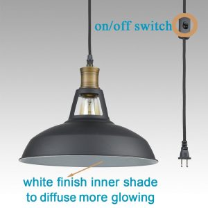 Industrial Plug in Pendant Light Barn Shape with OnOff Switch