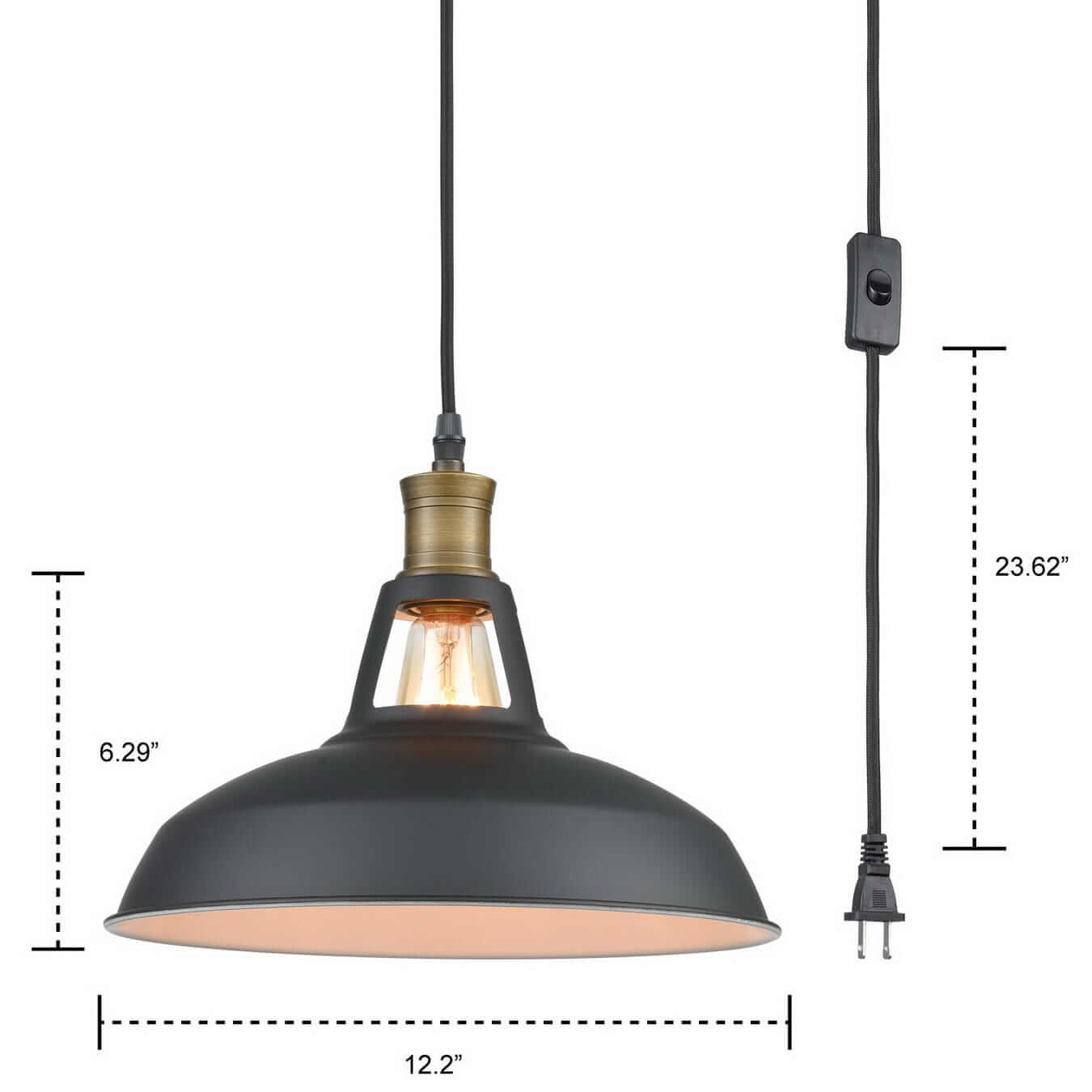 Industrial Plug In Pendant Light With On Off Switch