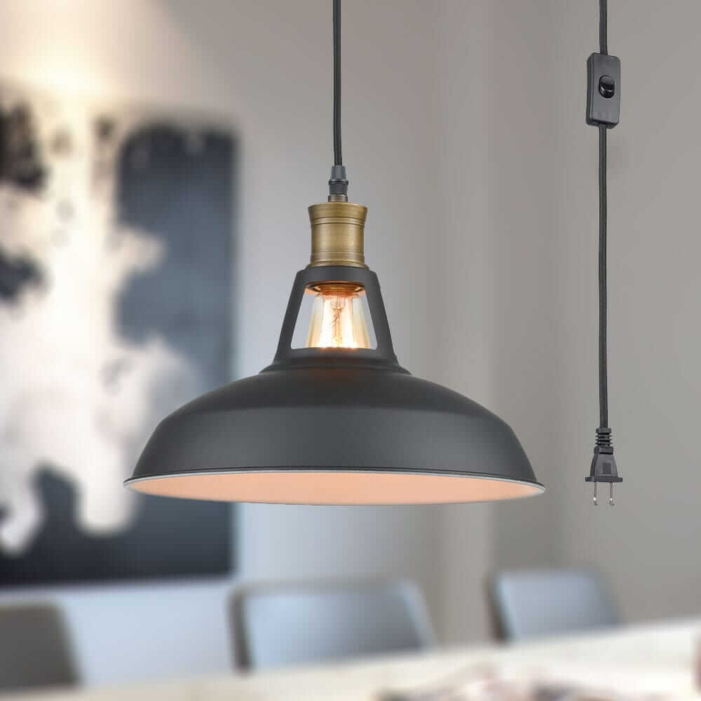 Industrial Plug in Pendant Light with On/Off Switch