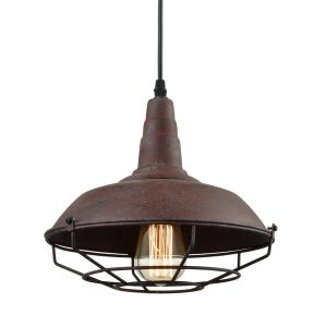 Industrial Rust Metal Cage Pendant Light