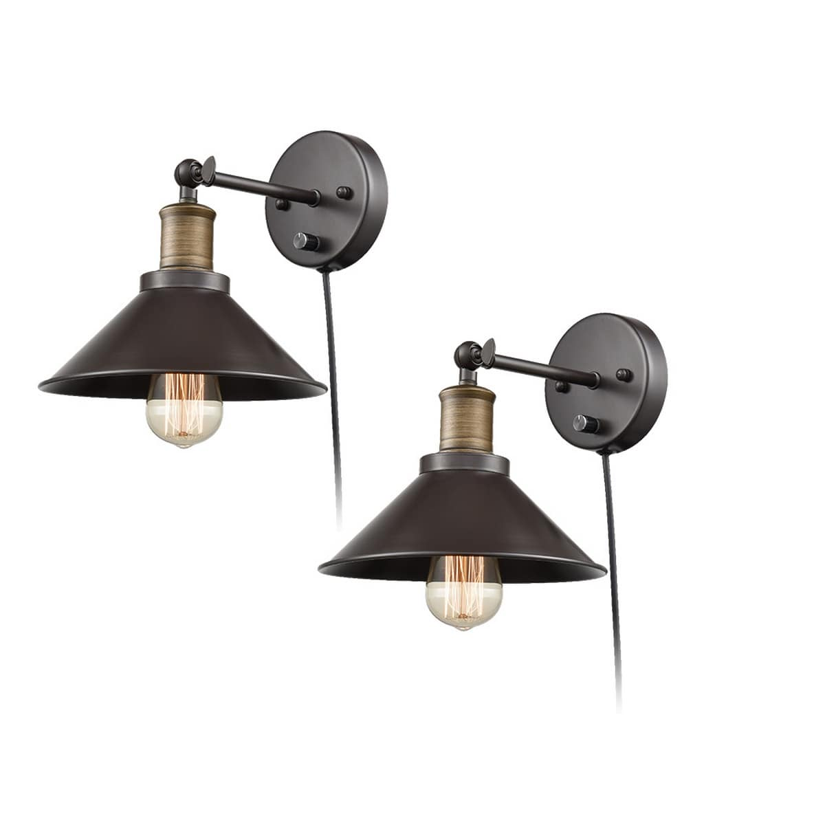 Industrial Swing Arm Hardwired & Plug-in Wall Sconce-2 Pack
