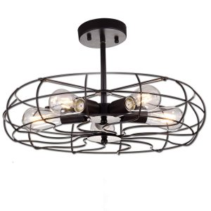 Indutrial Semi Flush Mount Ceiling Lights Drum Shape, 5 Lights