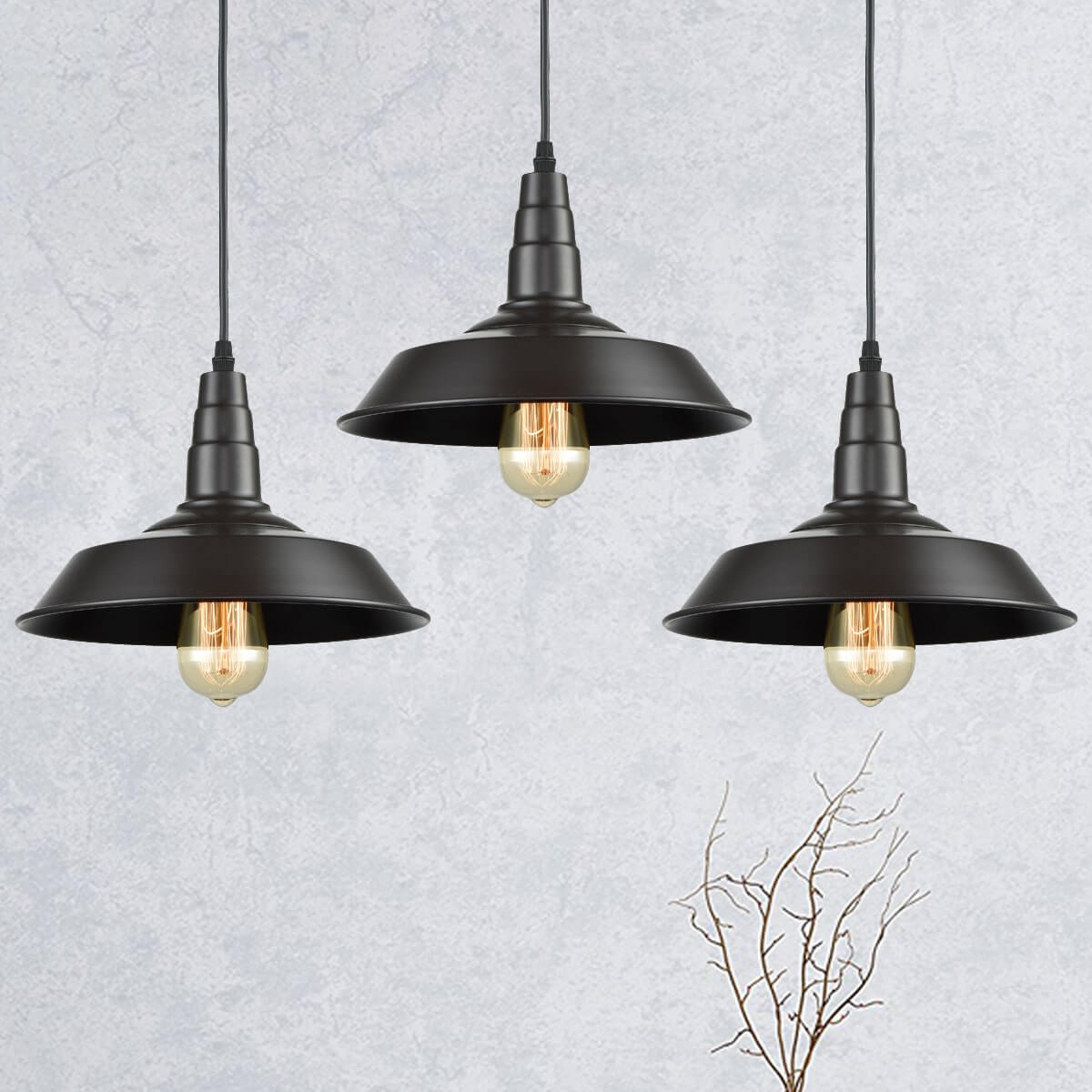 Kitchen Island Pendant Lighting Oil Rubbed Bronze Finish 3 Pack
