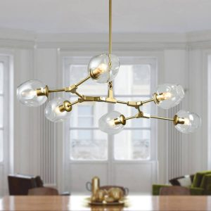 Large Gold Modern Chandeliers for Dining Rooms with Glass Shade
