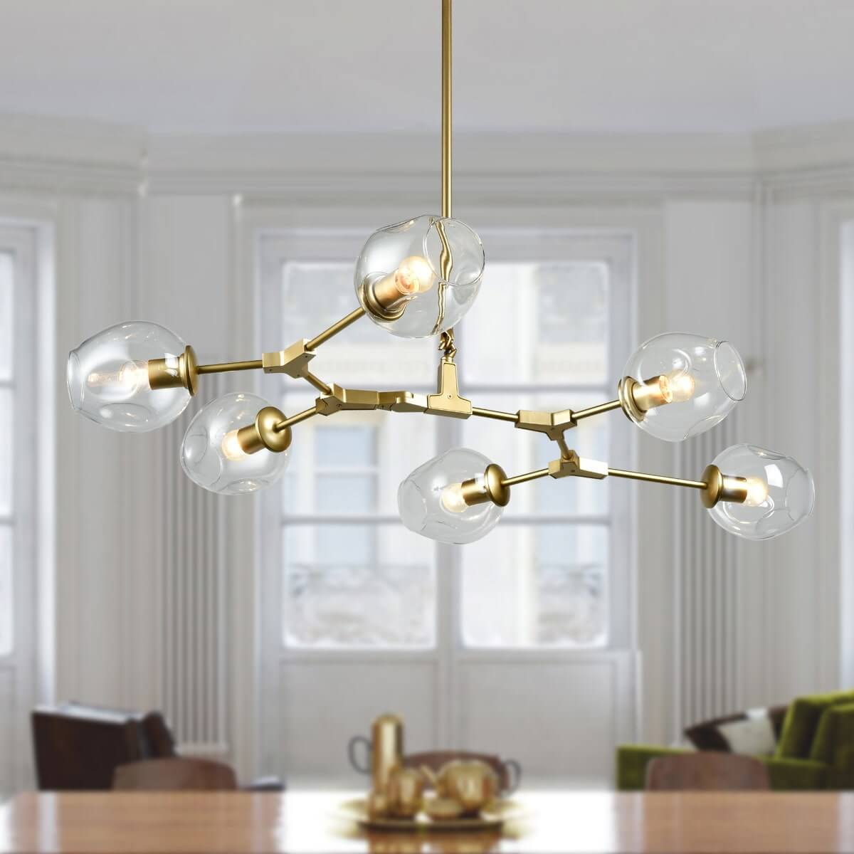 Modern Chandelier Gold Dinging Room Fixture with Clear Glass – 6 Light