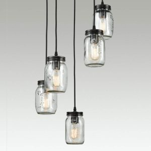 Industrial Mason Jar Pendant Light Bronze Finish 5-Light
