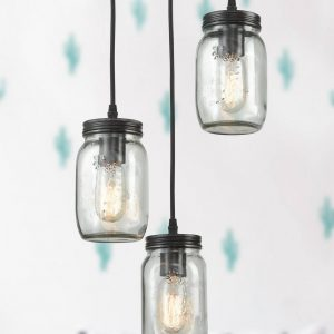 Mason Jar Glass Shade Industrial Ceiling Lights for Kitchen