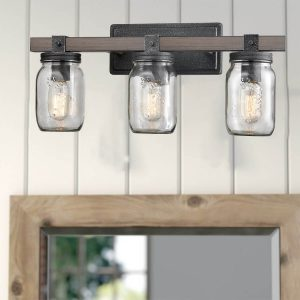 Mason Jar Glass Wall Sconce 3-Light Distressed Bath Vanity Lights