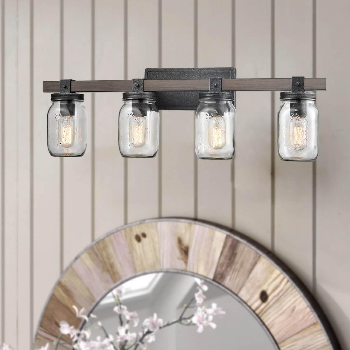 Mason Jar Glass Wall Sconce 4-Light Distressed Bath Vanity Lights