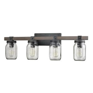 Mason Jar Glass Wall Sconce 4-Light Distressed Bath Vanity Lights
