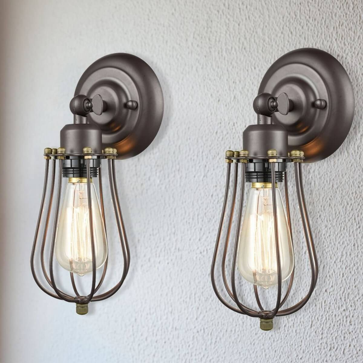 Metal Cage Rustic Wall Sconces, 2 Pack