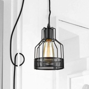 Metal-Mesh-Cage-Small-Plug-In-Pendant-Light