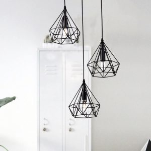 Metal Wire Diamond 3-Light Cluster Pendant Lighting 5025-3 (1)