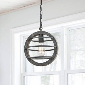 Mildew Stained Finish Globe Wood Pendant Light