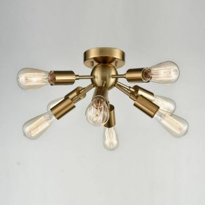Modern 8-light Brass Sputnik Flush Mount Ceiling Light