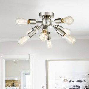 Modern 8-light Brushed Nickel Sputnik Flush Mount Ceiling Lights