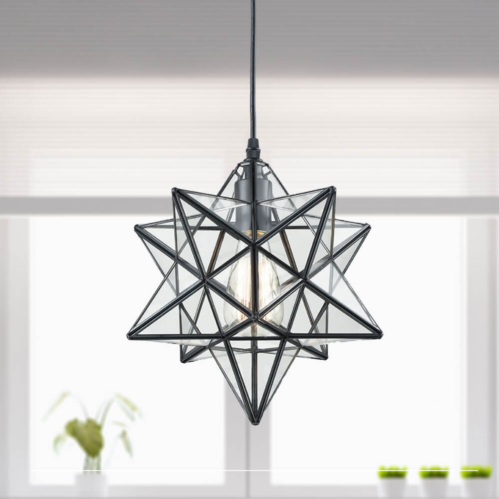 Moravian Star Pendant Lights Clear Glass Shade, 12""