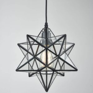 Modern Clear Glass Moravian Star Pendant Light, 12''