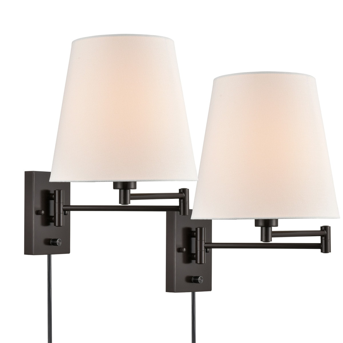 Modern Fabric Plug-In Wall Sconce with Switch Set of 2