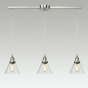 Modern Glass Brushed Nickel Kitchen Island Pendant Lighting Fixtures