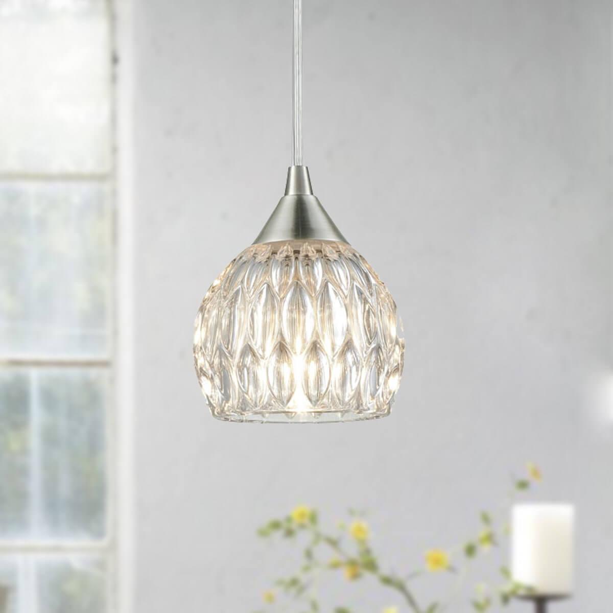 Modern Glass Mini Pendant Lights For Kitchen Island Brushed Nickel Finished