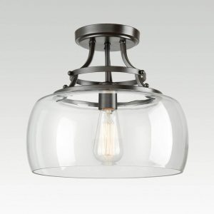 Modern Glass Semi-flush Mount Ceiling Light With Oil Rubbed Bronze