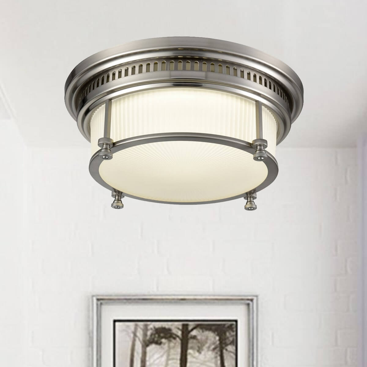 Modern Drum Led Ceiling Light With Frosted Glass Shade Brushed Nickel