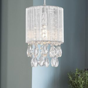 Modern Silver String Drum Shade Crystal Pendant Lighting