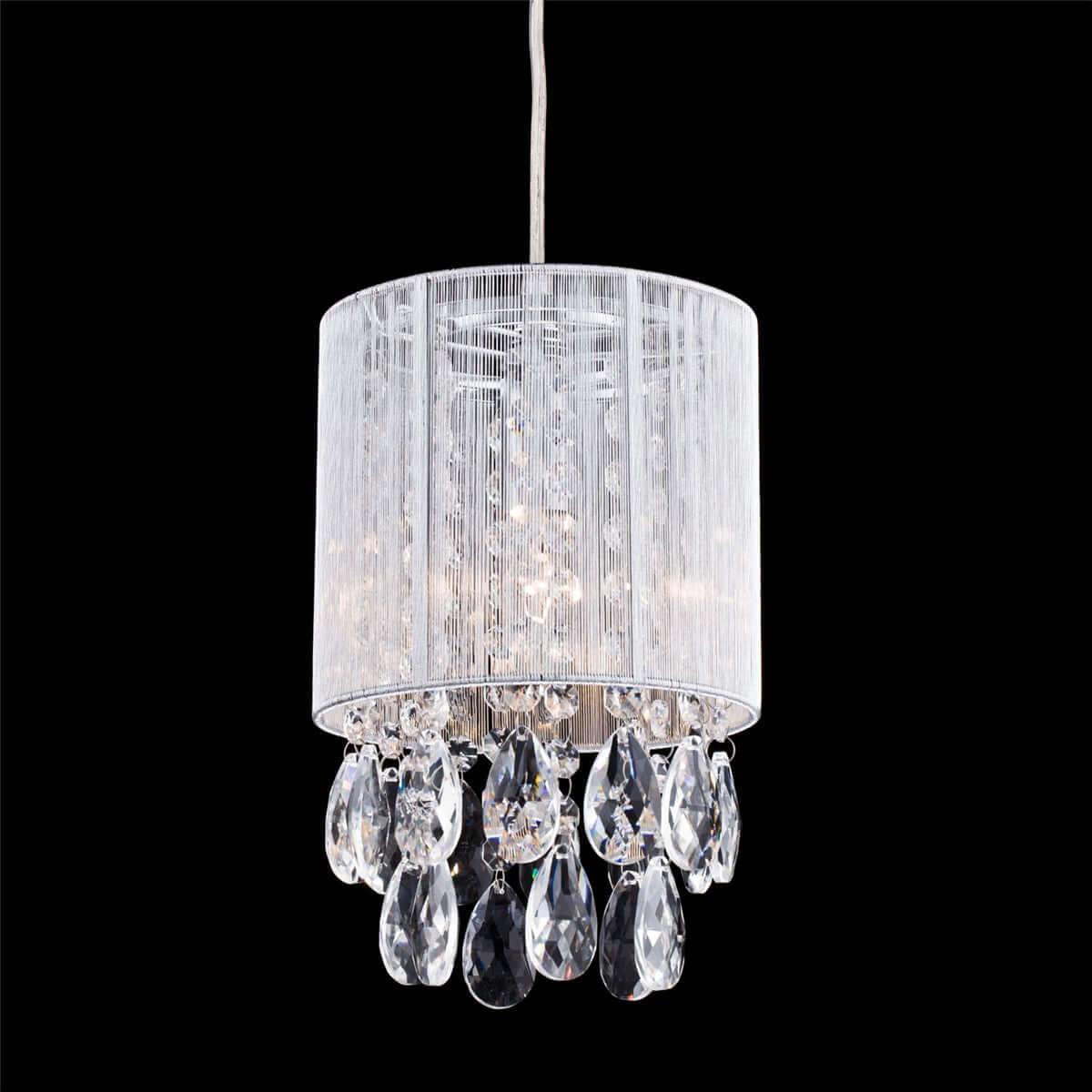 Modern-Silver-String-Drum-Shade-Crystal-Pendant-Lighting