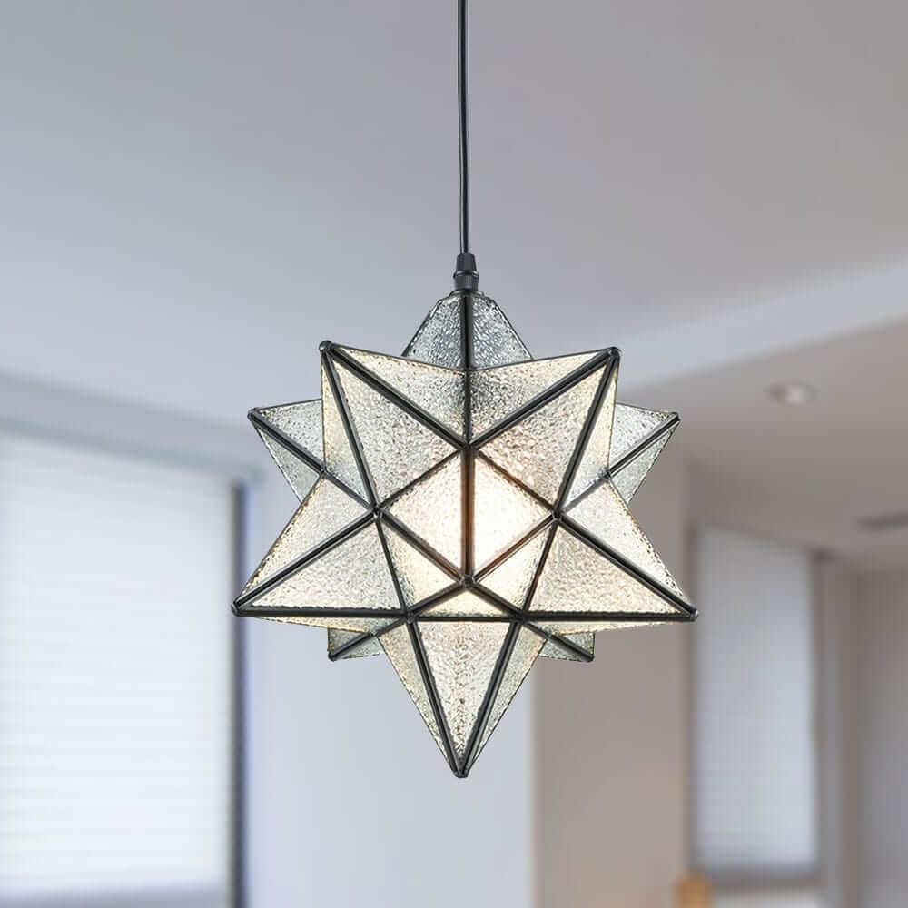 Modern Textured Glass Moravian Star Pendant Lighting, 12''