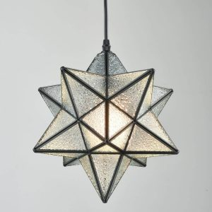 Modern Textured Glass Moravian Star Pendant Lighting, 12''