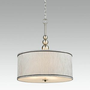 Nickel Vintage Drum Fabric Gauze Modern Chandelier 3 Light
