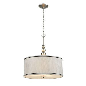 Nickel-Vintage-Drum-Fabric-Gauze-Modern-Pendant-Lighting-With-3-Light