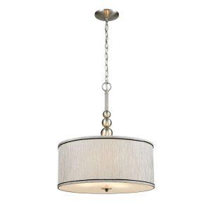 Nickel-Vintage-Drum-Fabric-Gauze-Modern-Pendant-Lighting-With-3-Light