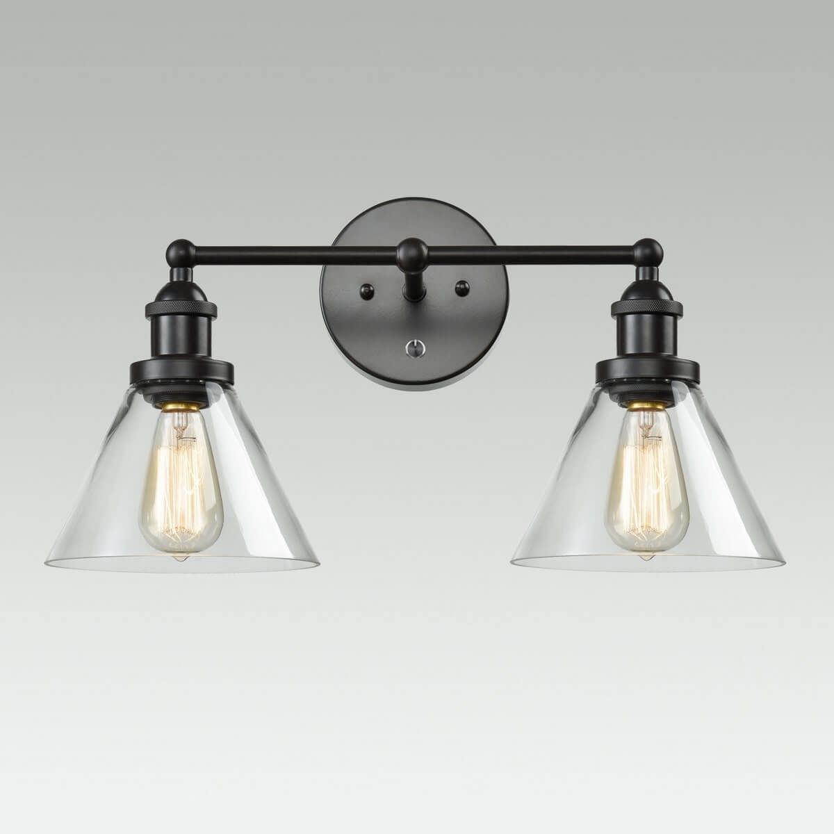 Oil Rubbed Bronze 2 Light Glass Hardwired & Plug in Wall Sconce