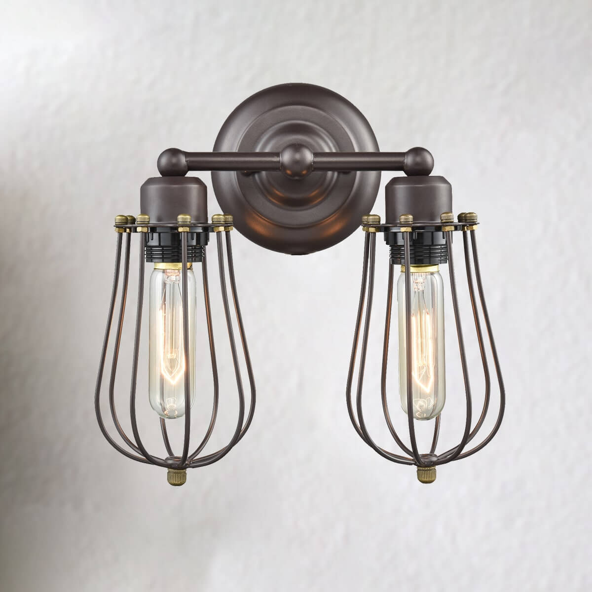 Oil Rubbed Bronze 2-Light Metal Rustic Wall Sconces