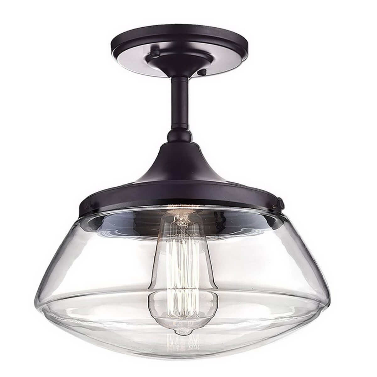 Oil Rubbed Bronze Clear Glass Schoolhouse Semi Flush Mount Ceiling Light