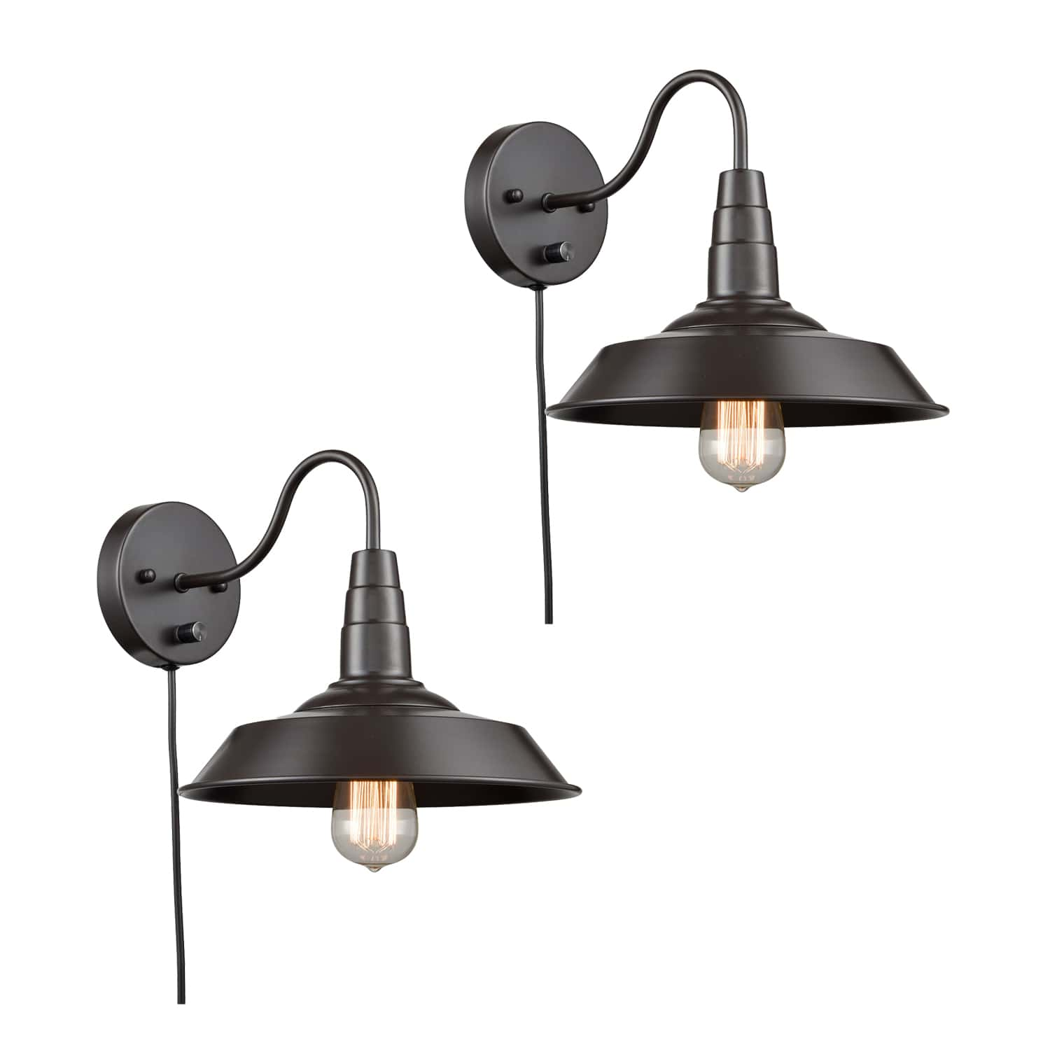 Oil Rubbed Bronze Gooseneck Industrial Plug In Wall Sconces Set of Two