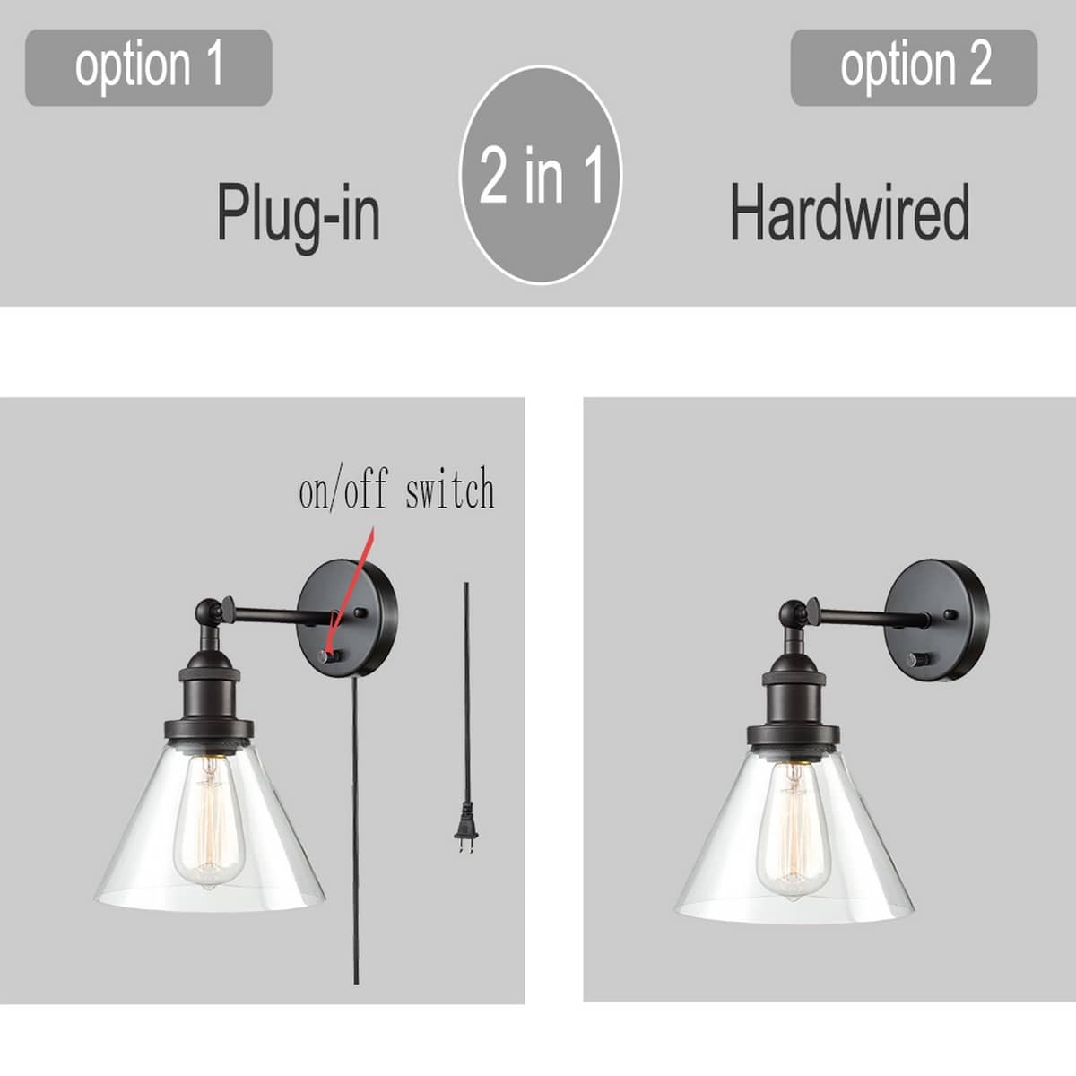 Oil Rubbed Bronze Hardwired & Plug in Wall Sconces Clear Shade